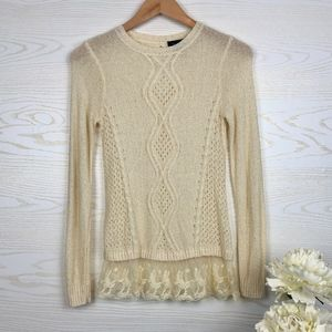 The Limited Lace Hem Open Knit Ivory Sweater